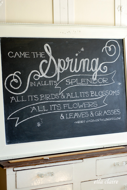 beautiful spring chalkboard and free printable