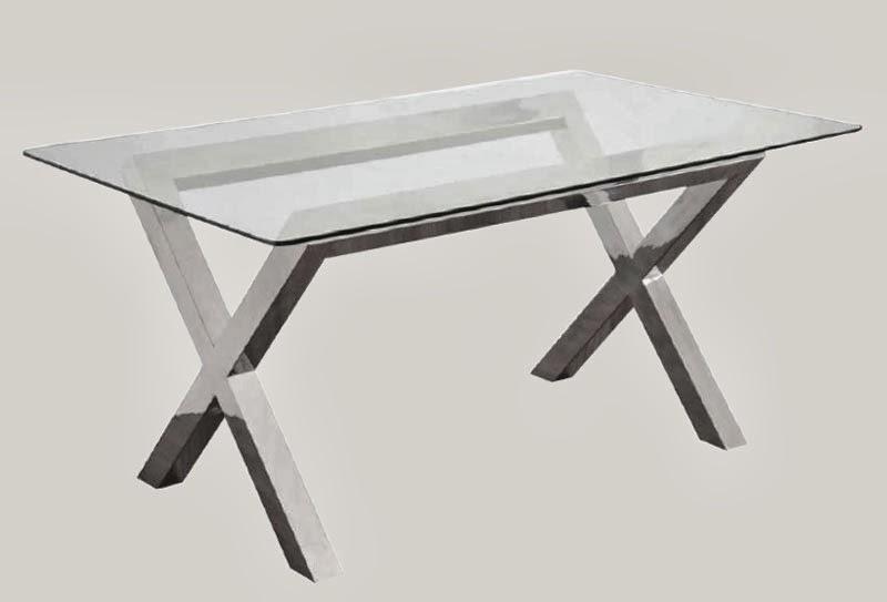 Muebles de forja mesas aluminio y cristal modernas - Mesa comedor cristal y acero ...