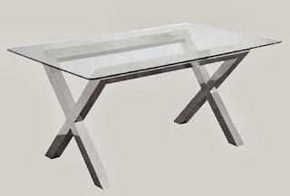mesa comedor aluminio cristal