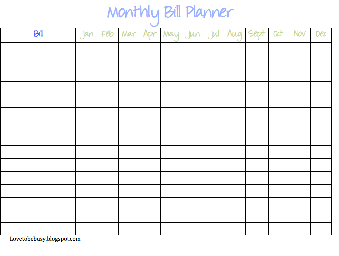 Bill Management Spreadsheet  Monthly Payment Template
