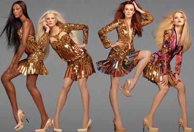 Naomi, Karen, Kristen & Daphne pour Roberto Cavalli 2012 par Steven Meisel