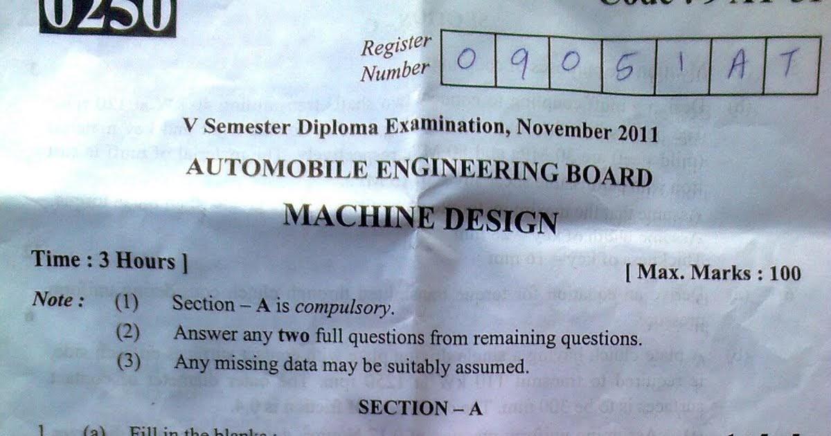 Study Engineering 5th Sem Diploma Examination November