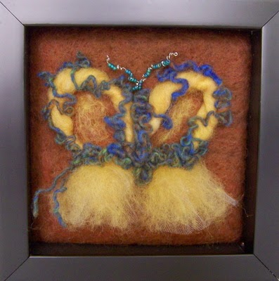 Needle Felt Butterfly and Ballerina Art
