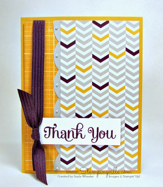Simple thank you card with Stampin' Up! Four You stamp set. Great use of patterned paper by Stampingville.