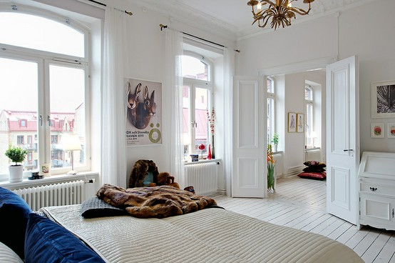 beautiful room - traditional urban style white master bedroom