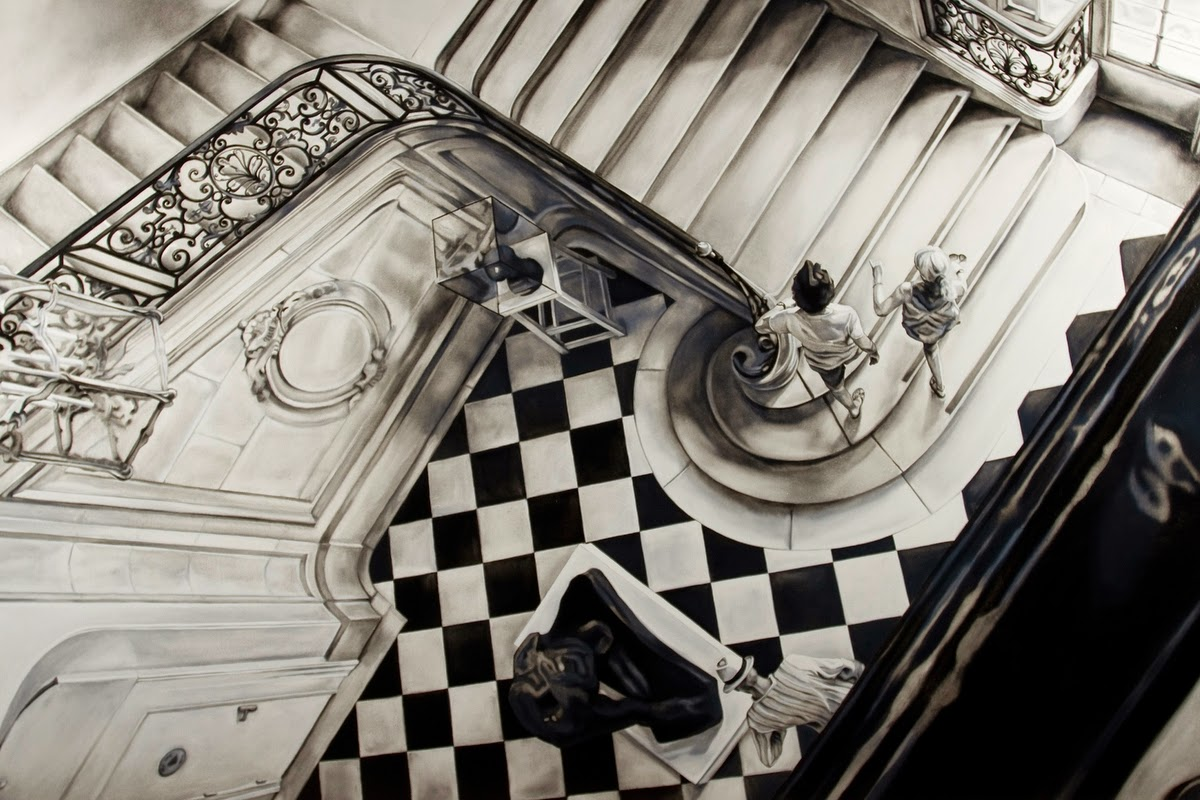 01-The-Staircase-Kate-Brinkworth-Black-&-White-Photo-Real-Paintings-&-Drawings-www-designstack-co