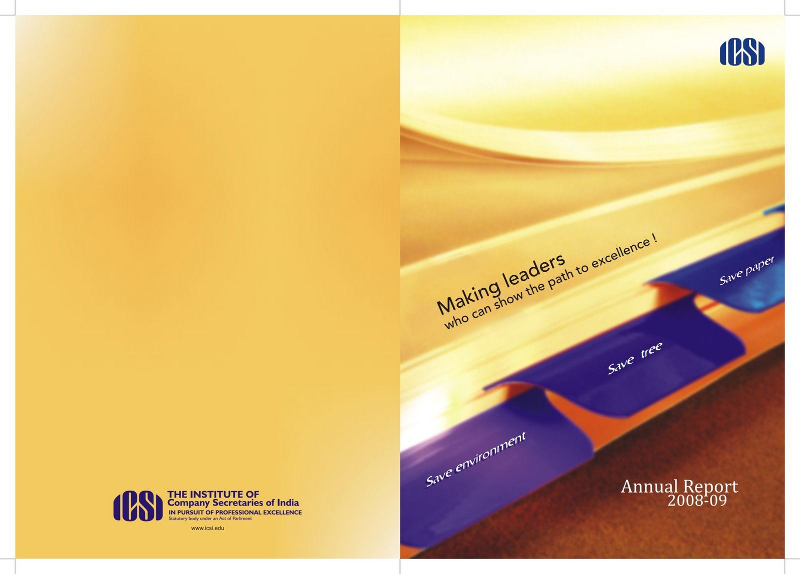 creative director client icsi product annual report cover page design