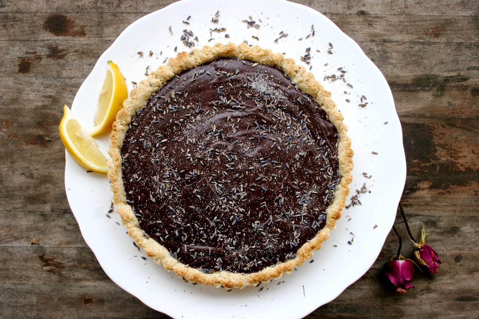 Dark Chocolate Lavender Tart with a Lemon Cardamom Crust