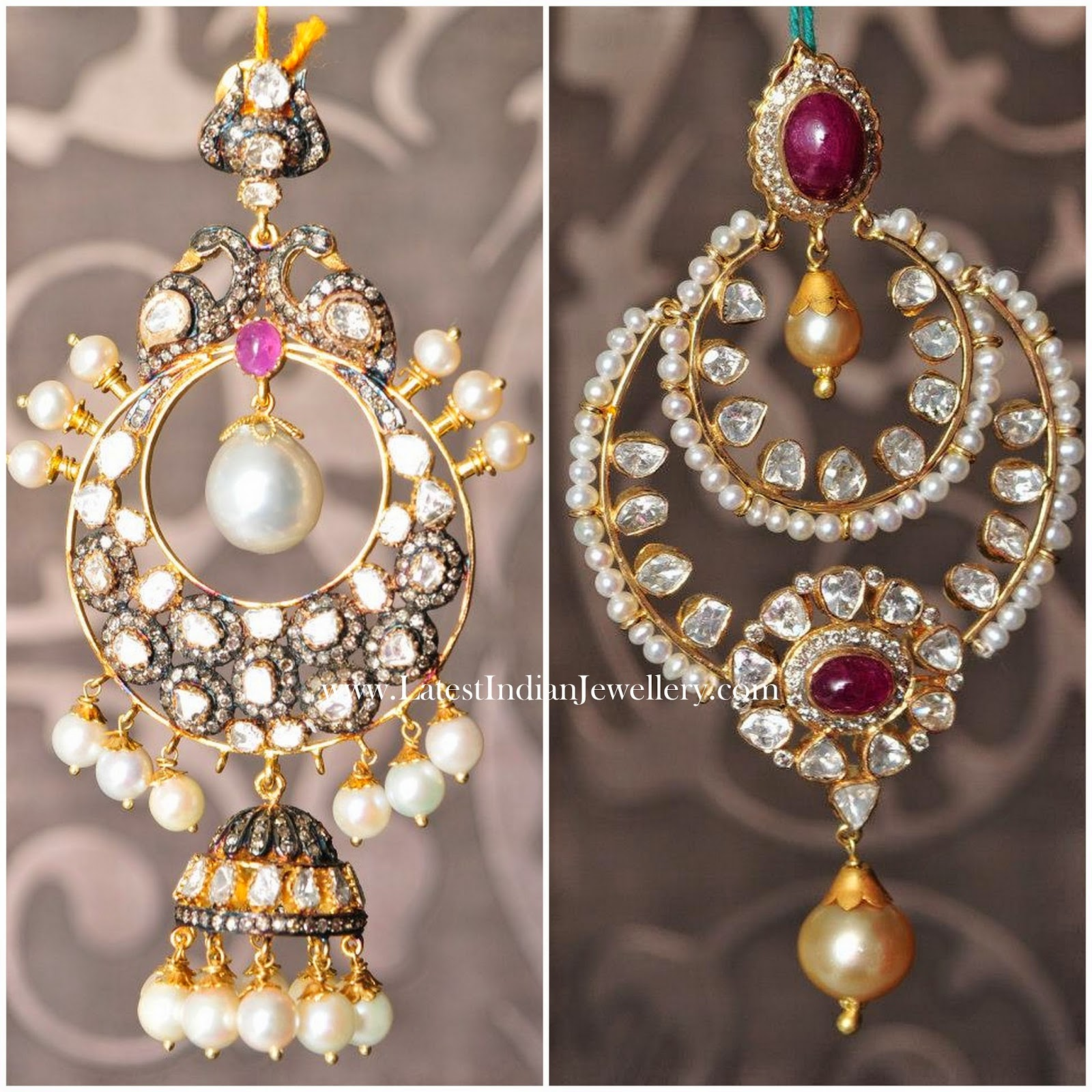 Large Polki Chand Bali Earrings