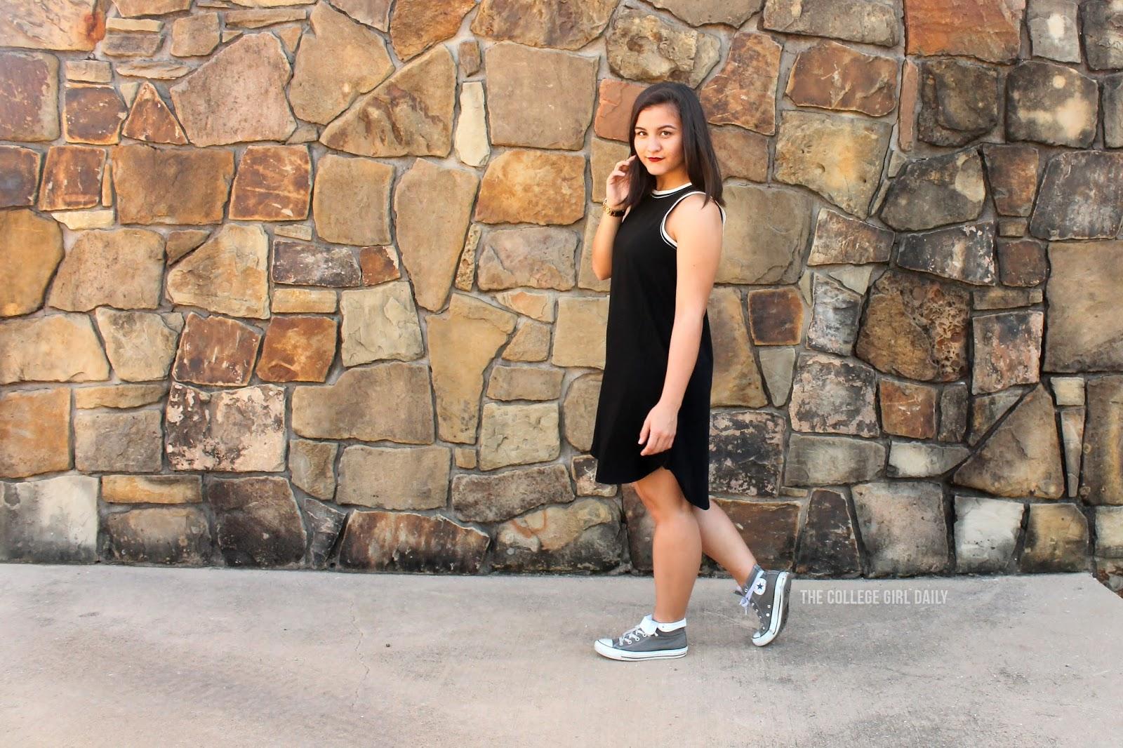 LOFT, skater, skater dress, dress, college, casual, casual dress, college, loftgirl, sneakers,