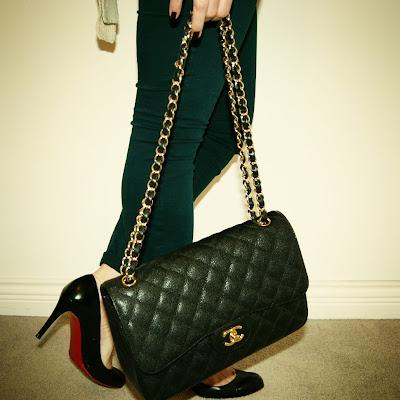 Chanel jumbo, Prada sunglasses, J Brands, Christian Louboutin pumps and a faux fur vest