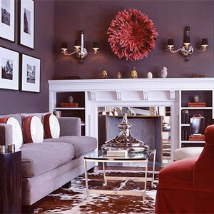 Baby green monday color eggplant Purple accent wall in living room
