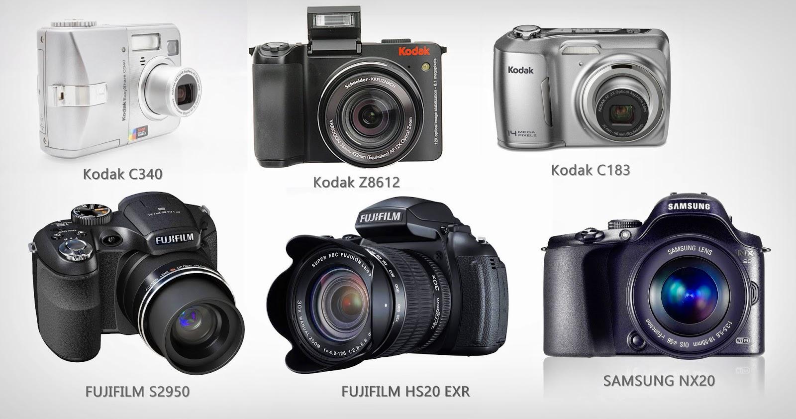 Kodak C183, Kodak C340, Fujifilm HS20 EXR, Samsung NX 20,Kodak Z8612