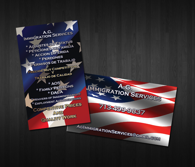 Business card design for immigration services company whim design business card design for immigration services company this company requested a business card design with usa flag background in both sides colourmoves