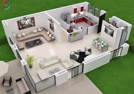 Contemporary Studio Apartment Floor Plans 3d Plan Layout With Furniture Placement And Other Elements For Design Ideas