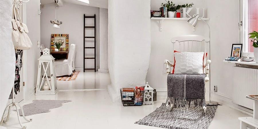 wystrój wnętrz, wnętrza, urządzanie mieszkania, dom, home decor, scandinavian styledekoracje, aranżacje, styl skandynawski, mini loft, białe wnętrza, biel, otwarta przestrzeń