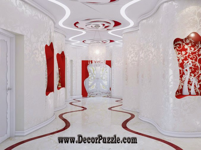 modern plaster of paris design for hallway ceiling designs 2015 - Plaster Of Paris Wall Designs