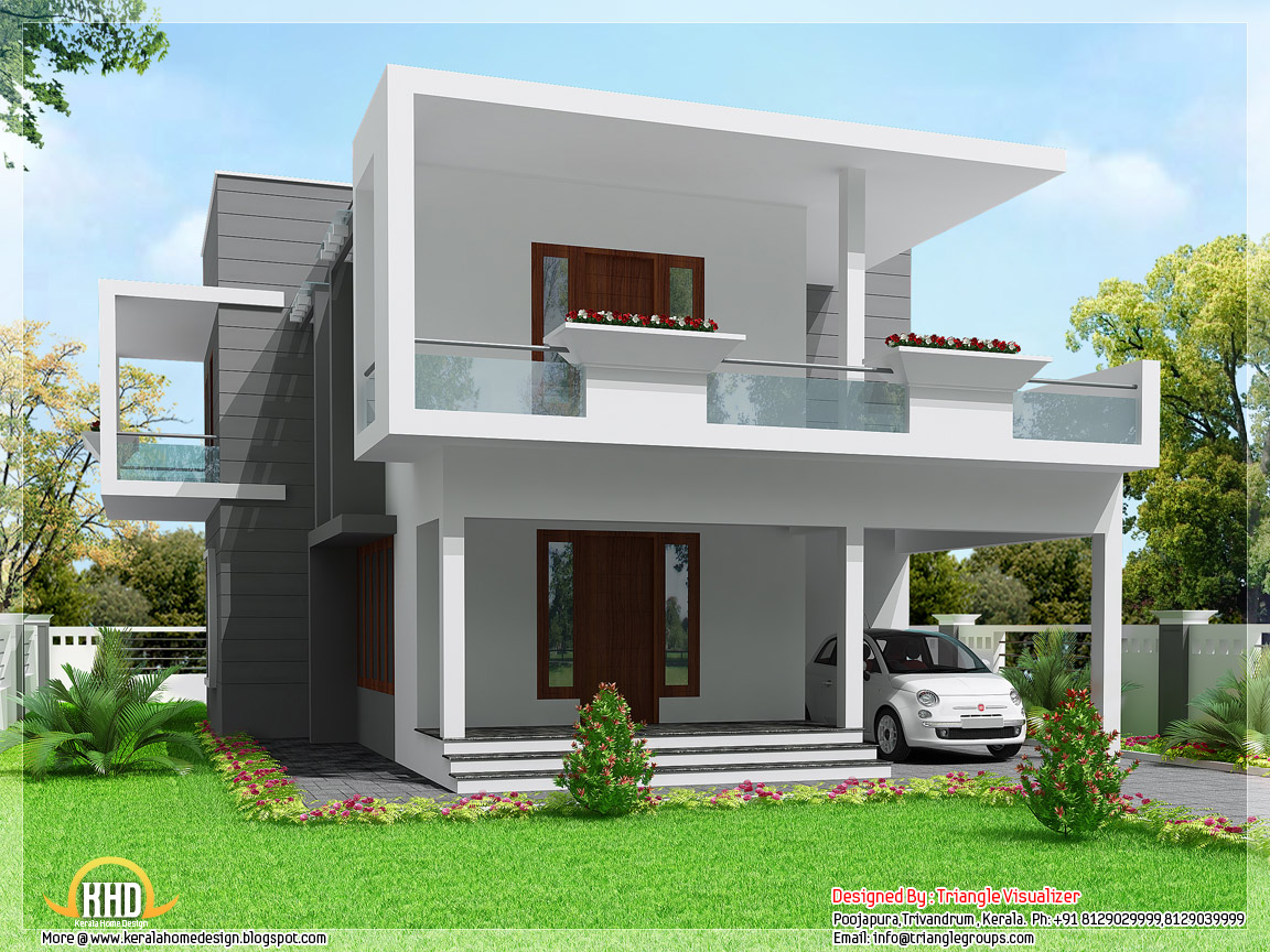 Cute modern 3 bedroom home design 2000 kerala for Modern 3 bedroom house design