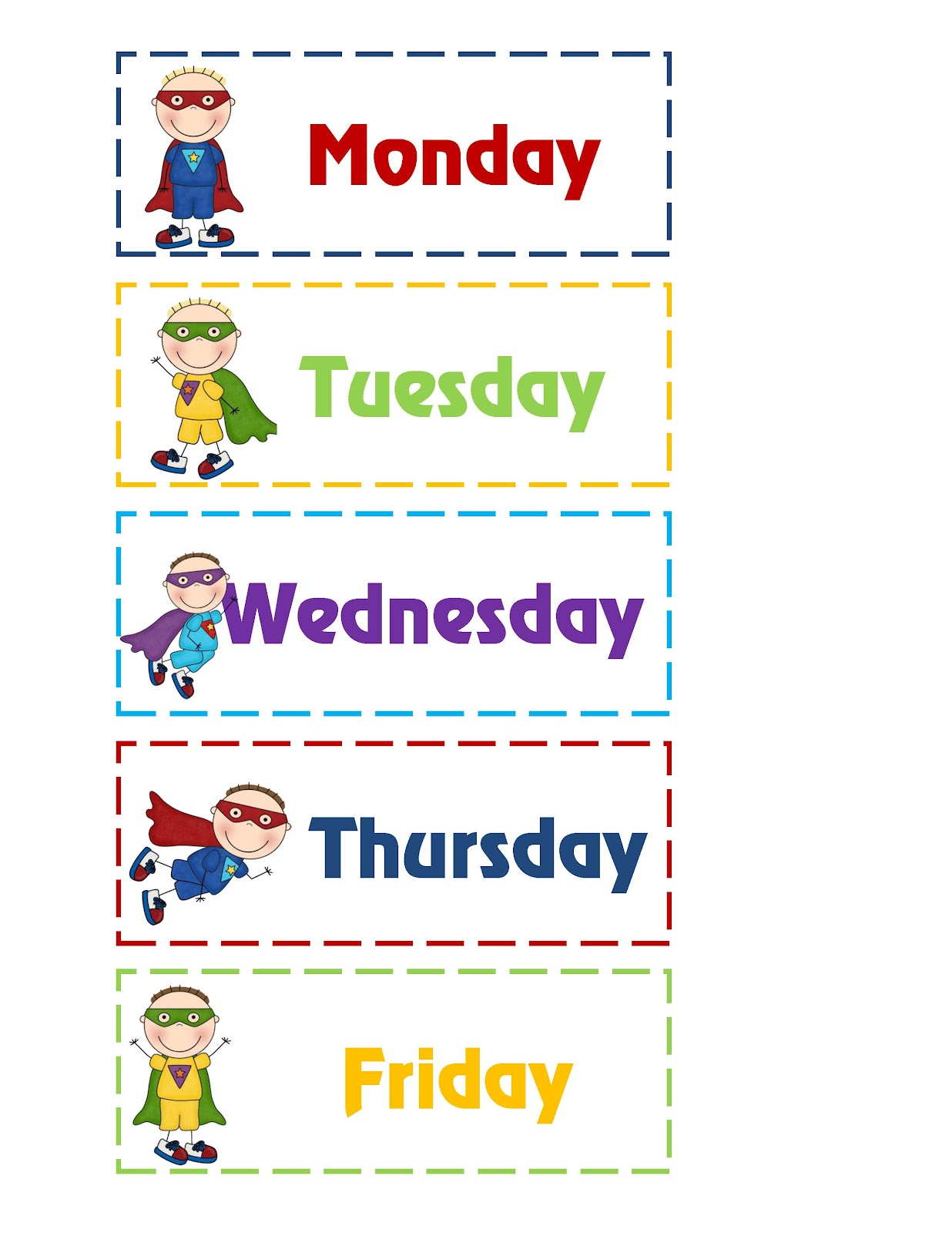 Super Hero Tommy's Days & Month Pritnable ~ Preschool Printables