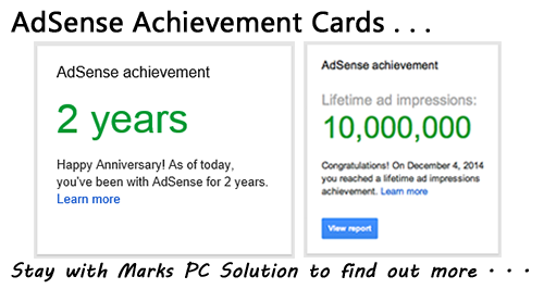 Google AdSense Achievement Card