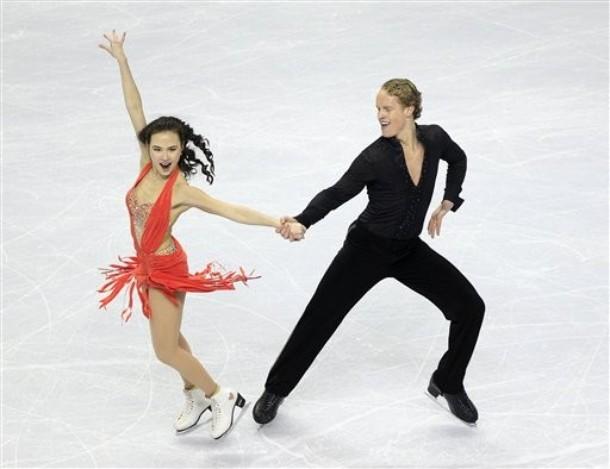 Nearly nude ice dancers