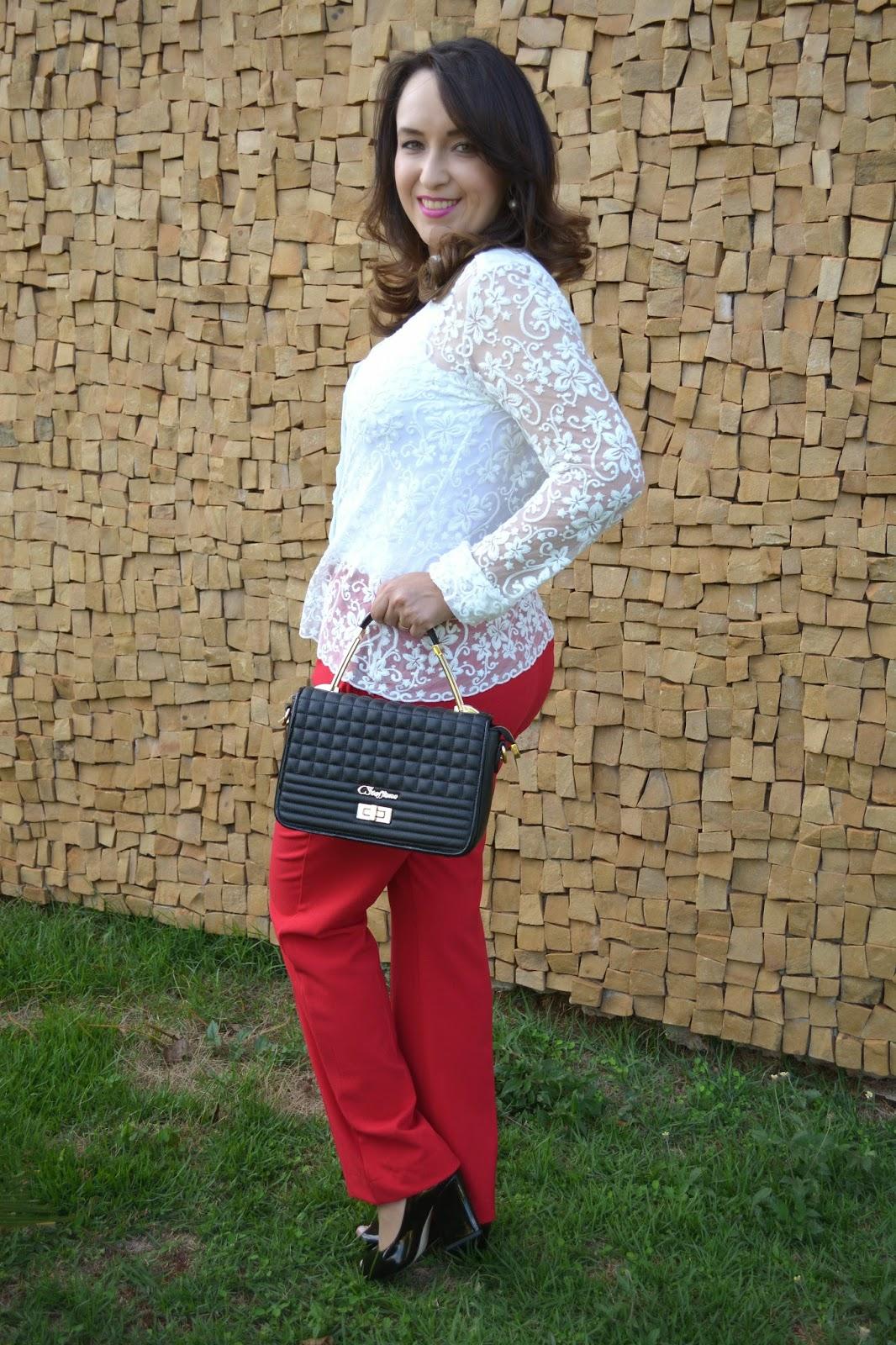 look do dia, du jour, calça vermelha, calça social vermelha, camisa de renda, camisa branca, sapato verniz carmen steffens, bolsa carmen steffens, carmen steffens novo shopping, blog de moda de ribeirão preto, blogueira de moda, fashion blogger, blogueira de moda