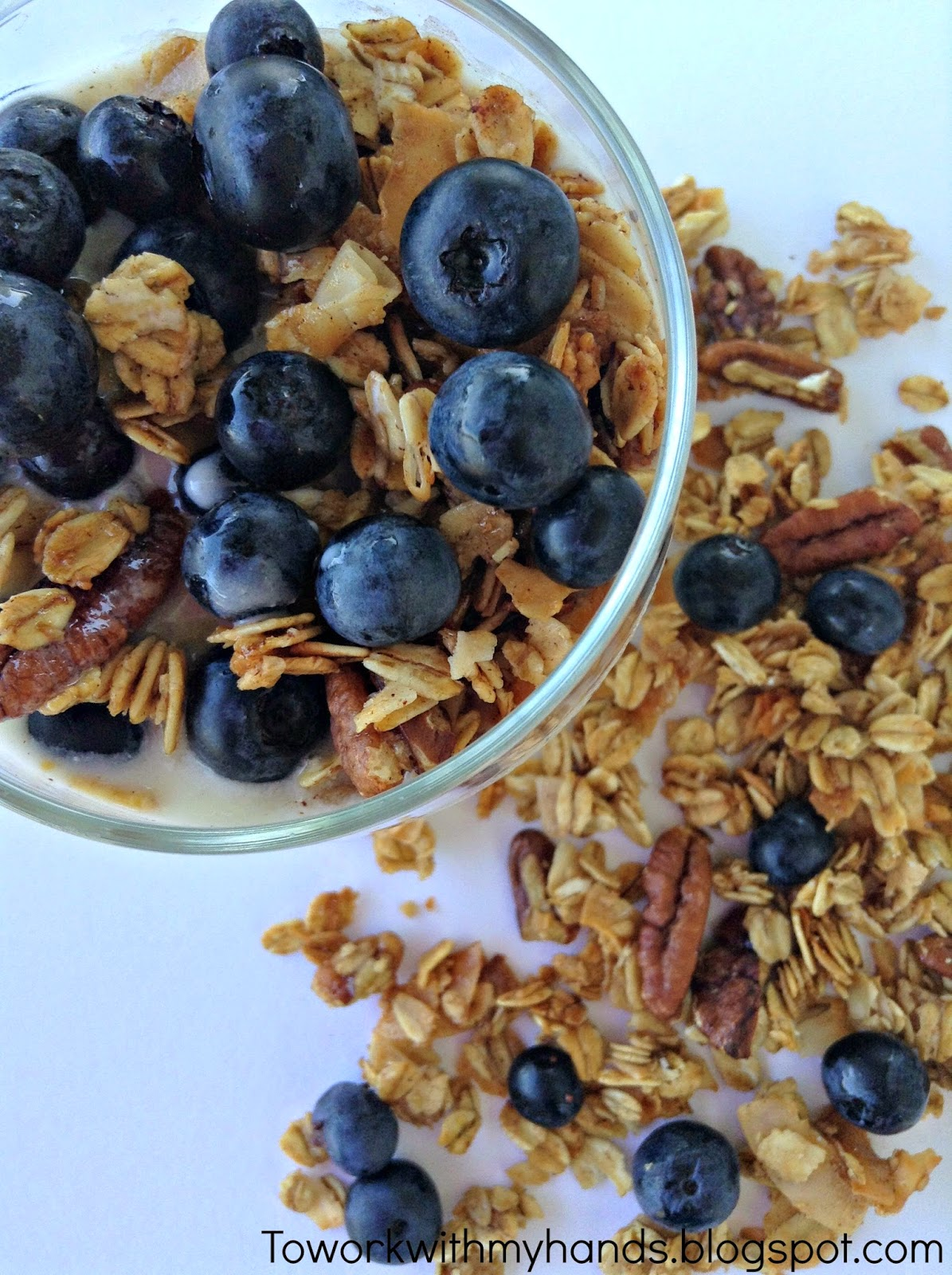 Yogurt + Granola + Fresh Blueberries = A delicious and filling summer breakfast or afternoon snack.