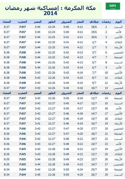 امساكية شهر رمضان 1435 – 2014 قي السعودية - مكة المكرمة وموعد الافطار والامساك وصلاة الفجر