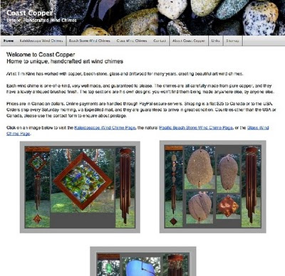 image of the homepage of Coast Copper, a new Canadian website for handcrafted art wind chimes.