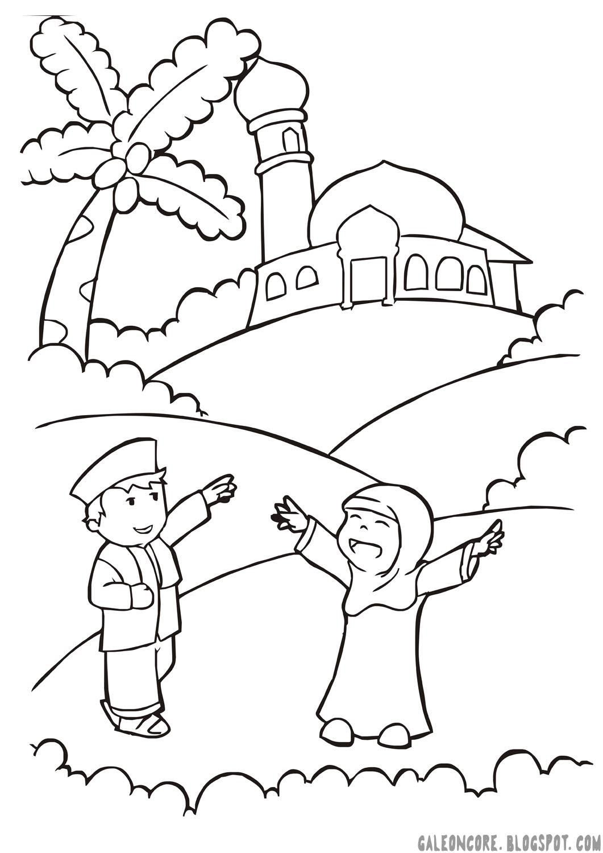 50 a tema anak muslim 01 moslem children mewarna vector