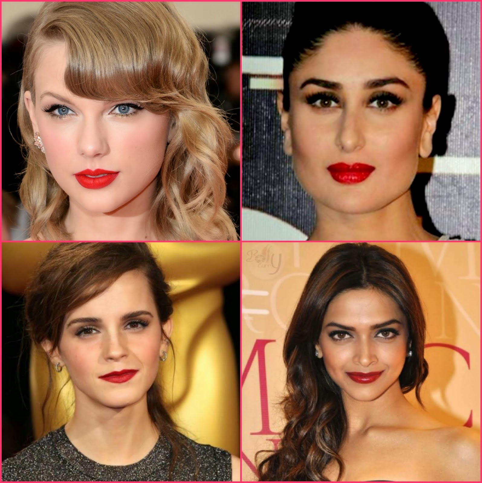 red lip colour fashion, taylor swift red lips, ema watson in red lip colour, deepika padukone red lips, kareena in red lipstick