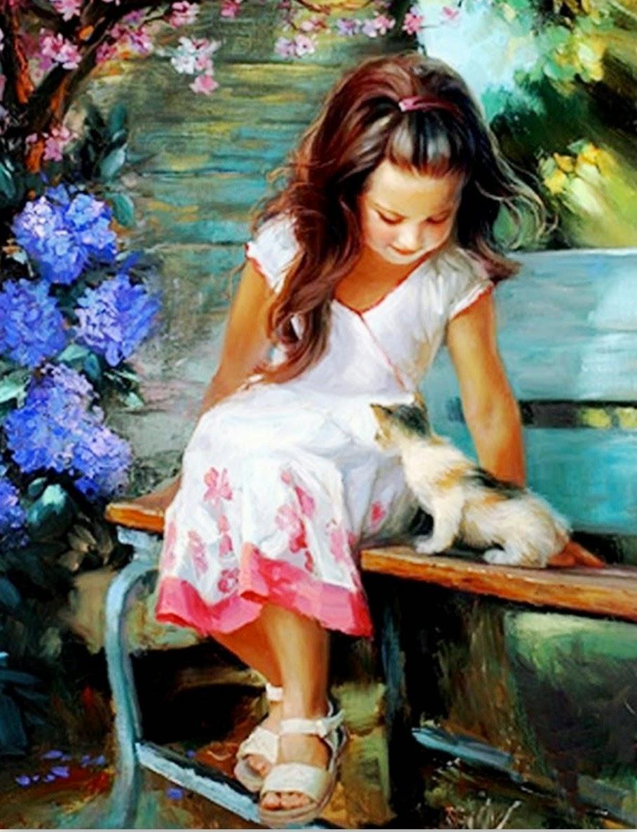 pinturas-de-niñas-arte-impresionista-oleo