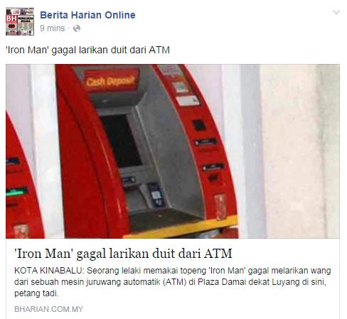 'Iron Man' gagal larikan duit dari ATM