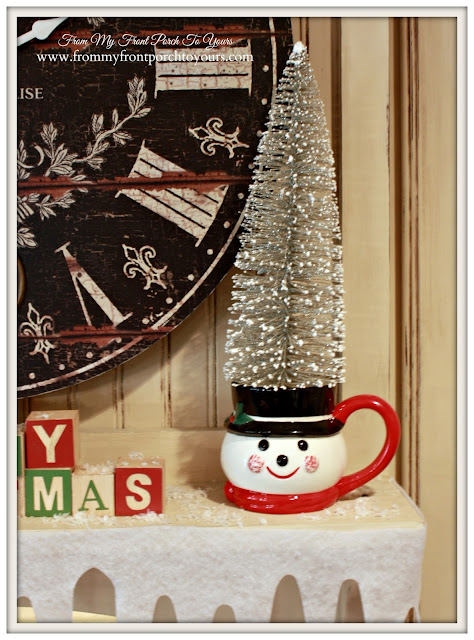 Vintage Farmhouse Christmas Kitchen-Snowman Mug-Wire Brush Tree-From My Front Porch To Yours