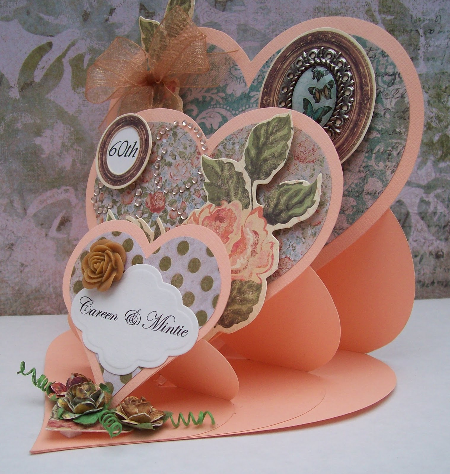 Awesome Card Making Paradise Part - 6: This Card Is A Triple Heart Card - Super To Make And I Think It Is  Beautiful! Again, Using The Same Papers From Kaisercraft. They Were Both  Made, As Orders, ...