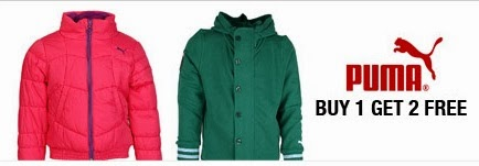 Buy 1 Get 2 Free Offer on Puma Brand Boys & Girls Clothing at Jabong