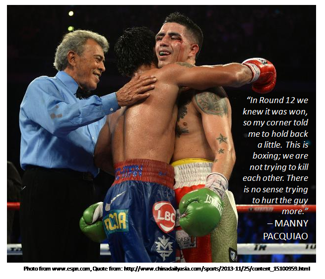 """Manny hugs Brandon Rios post fight""; Brandon Rios, Manny Pacquiao, Macau November 24, The Clash at Cotai"