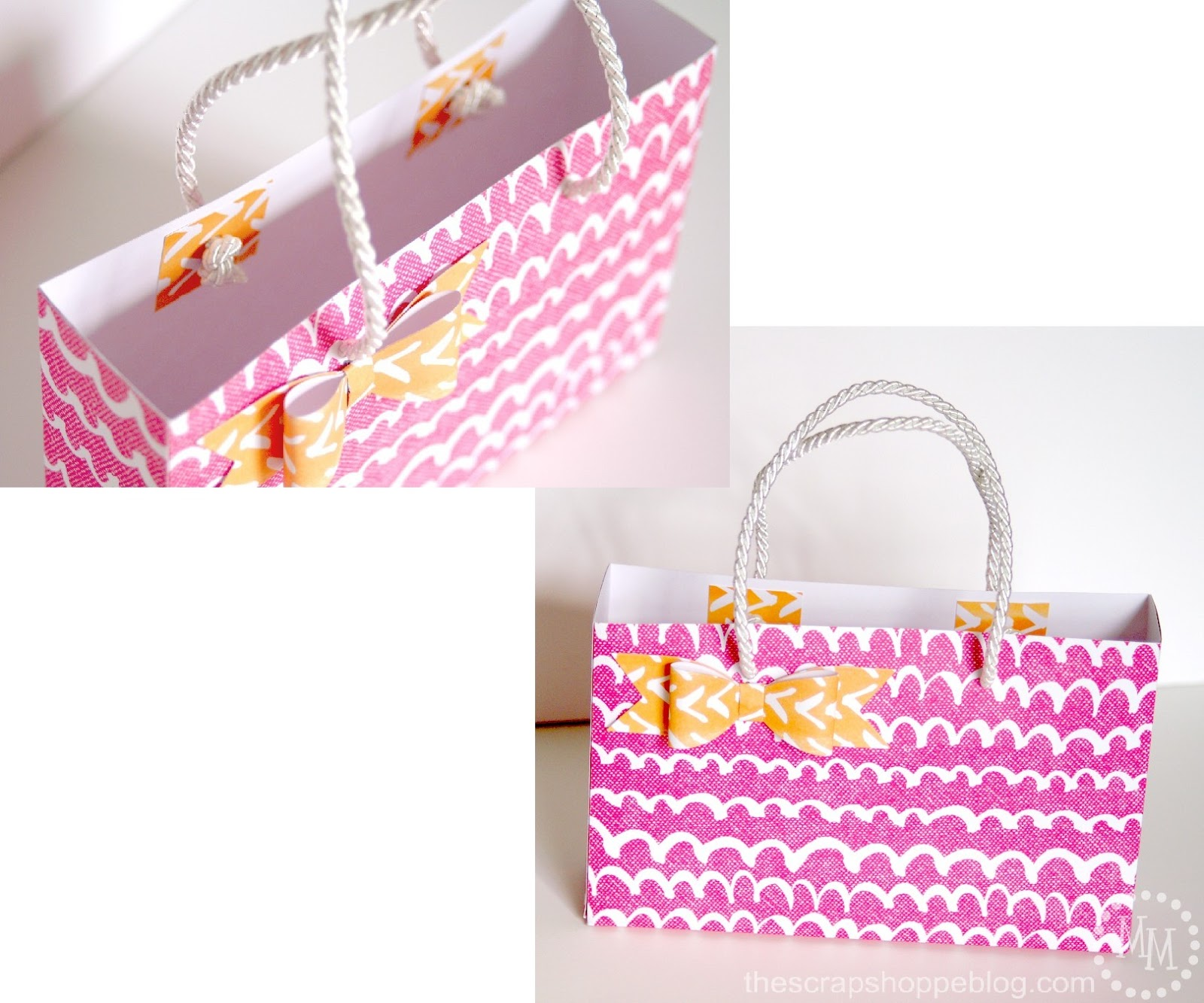 Scrapbook paper case -  Twine Or In This Case Roped Ribbon To Reinforce The Handles So They Do Not Rip Through The Bag You Can Add Extra Squares Of Scrapbook Paper To