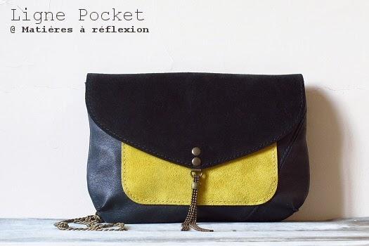 Mini sacs cuir Matières à réflexion pochette enveloppe jaune bleu encre
