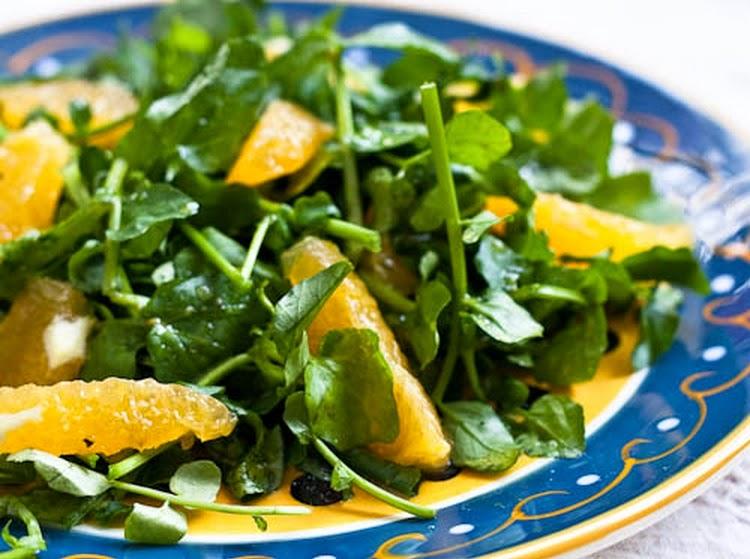 Salada de Agrião com Laranja (vegana)