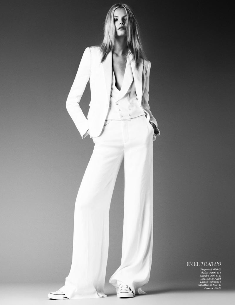 Madgalena Frackowiak wearing white suit and Converse trainers Vogue Spain March 2012 photographed by Giampaolo Sgura and styled by Geraldine Saglio