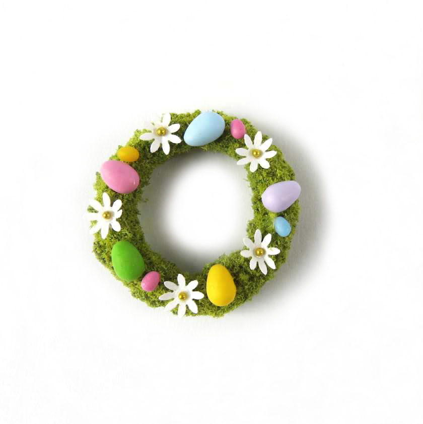 Easter wreath in miniature for dollshouse