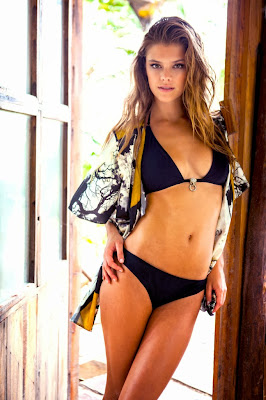 Danish bikini model Nina Agdal looks so hot for Sauvage sexy swimwear model