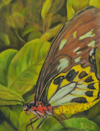 """Butterfly on Leaves"" yellows and blues, SOLD!"