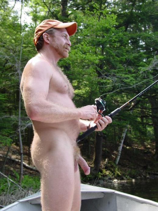 nude men fishing
