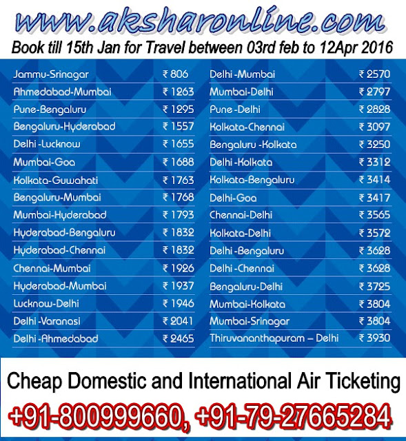 Cheap Domestic and International Airfare...Book Now!!!, www.aksharonline.com, Akshar Infocom, Akshar Tours and Travels, Ghatlodia Travel Agents.