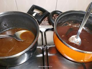 salsa de caramelo y chocolate