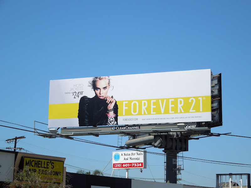 Forever 21 moto jacket billboard