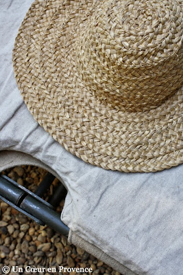 Straw hat put on a old military campbeds