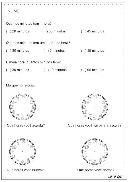 Hora e Minuto Atividade Medida de Tempo